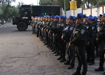 Police forces gathered in Mexico City