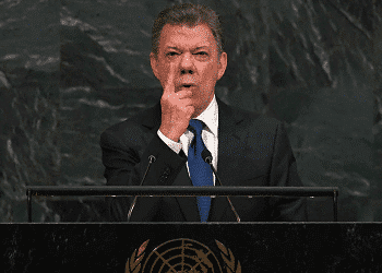 Colombian President Juan Manuel Santos at the UN General Assembly