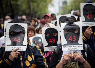 Protesters demand justice for the 43 missing students