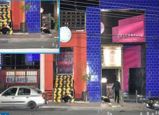 "The scene of a deadly attack against a night establishment blamed on the ""Aztecas"""