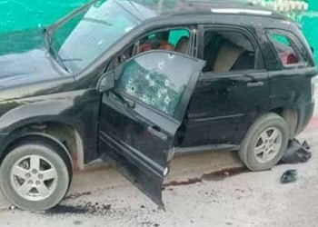 The vehicle in which three suspects were shot and killed by Mexican police