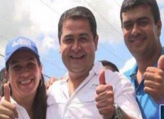 Diana Urbina Soto, Juan Orlando Hernández, and Arnaldo Urbina Soto at campaign event.