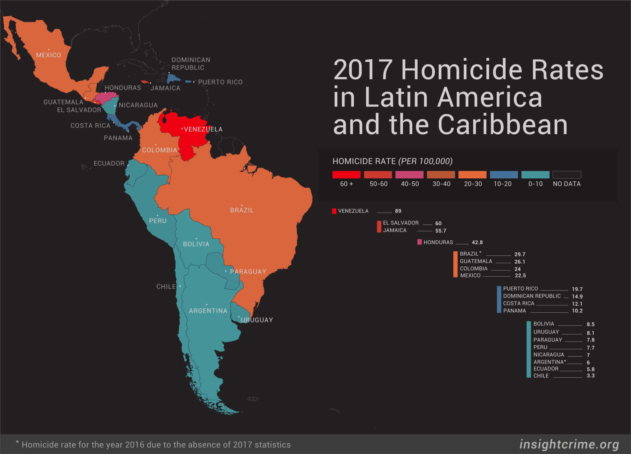 insight crime map of homicide rates in latin america and the caribbean click the picture for a larger version