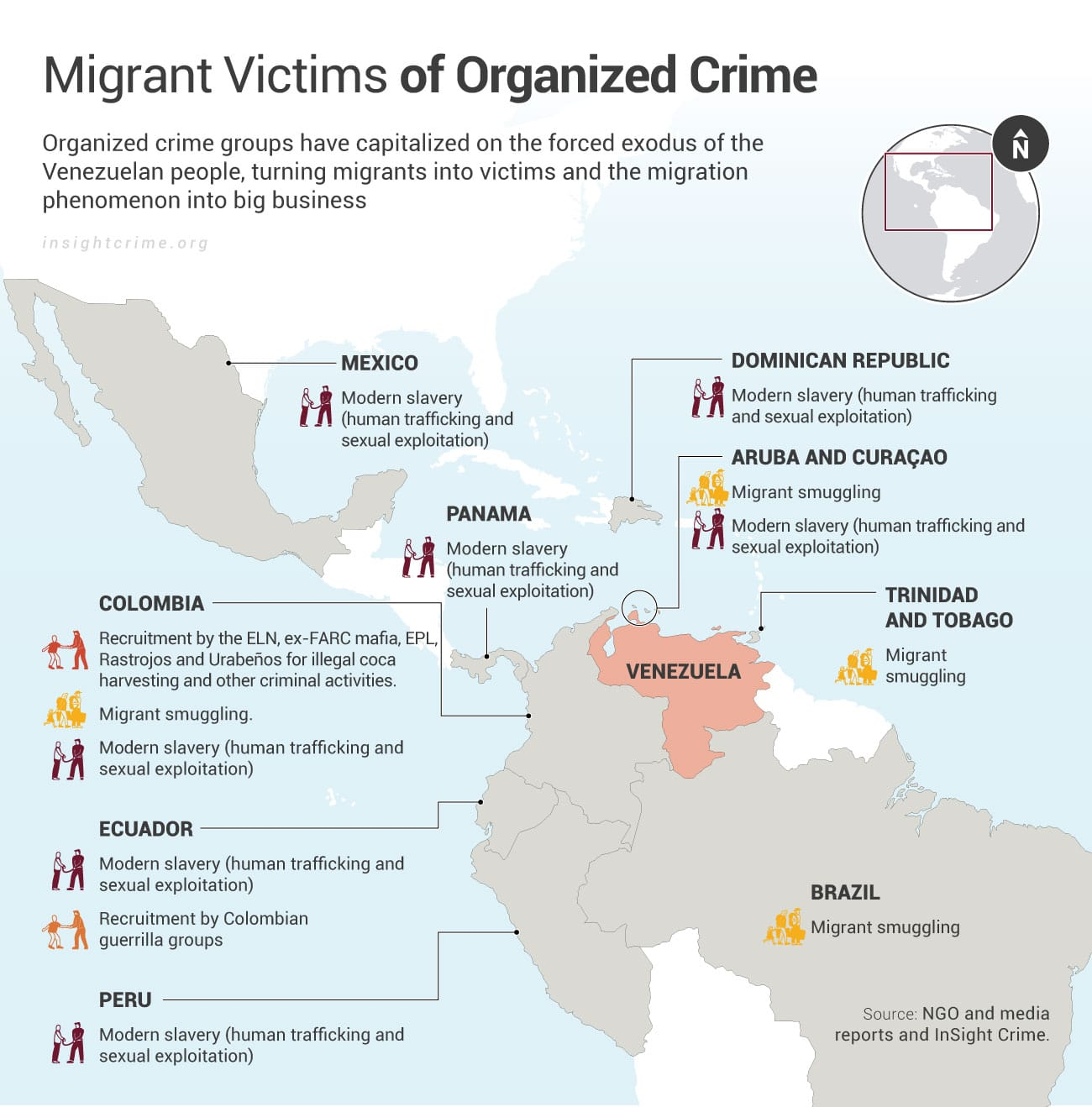 Venezuelan migrant victims of organized crime InSight Crime Map